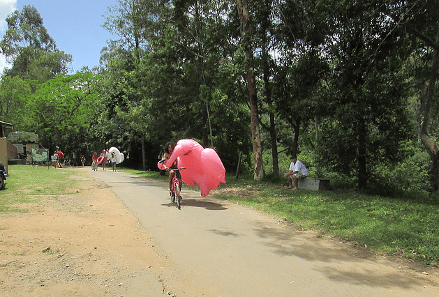 - Next year we hope to make like this guy and carry a floaty whilst riding a hot pink bike.